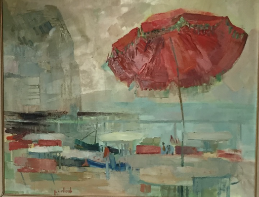 Paul COLLOMB - Pintura - Le Parasol Rouge