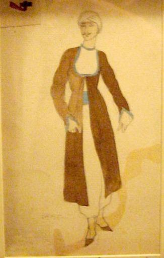 "Léon BAKST - Dibujo Acuarela -    Costume design for Aladdin in  ""Scheherazade"""