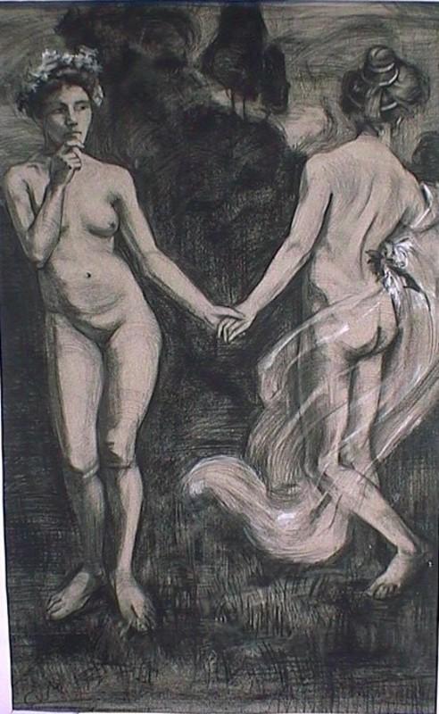 Carl VON MARR - Dibujo Acuarela - Zwei Nymphen , two nymphs