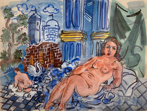 Raoul DUFY - Zeichnung Aquarell - Leda et la Cygne (Leda and the Swan)