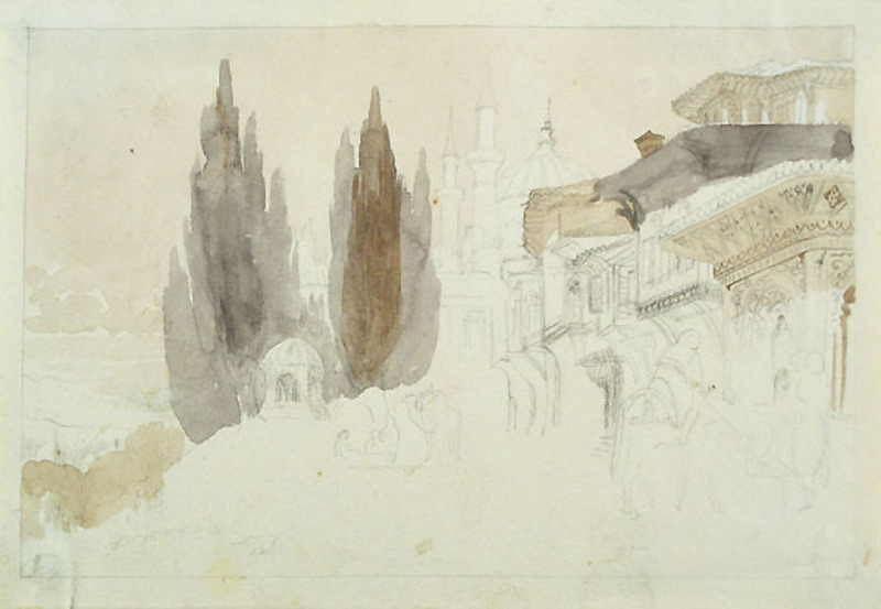 Cesare BISEO - Drawing-Watercolor - SKETCH OF A MIDDLE EASTERN TOWN