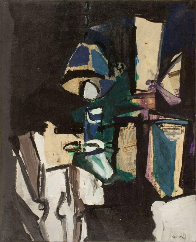 Giorgio CELIBERTI - Peinture - Motivo di lampada con tavolo