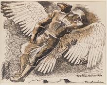 "Hans ANDRE - Zeichnung Aquarell - ""Fallen Hero"", 1920's"