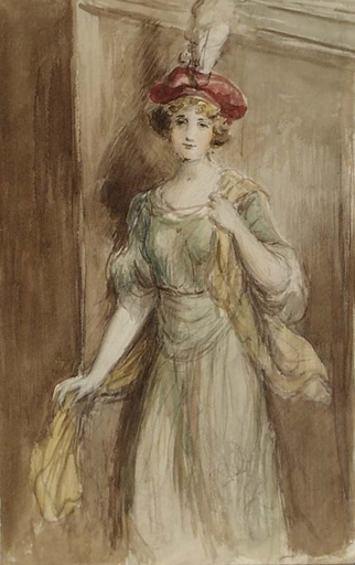 "Adolf PIRSCH - Dibujo Acuarela - ""Young Lady"" by Adolf Pirsch, ca 1910"