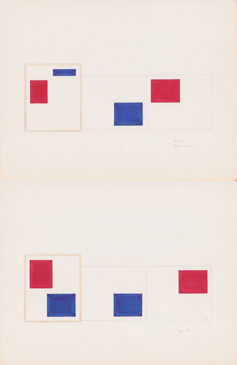 Bruce BOICE - Drawing-Watercolor - Composition 9-23-74 (diptych)