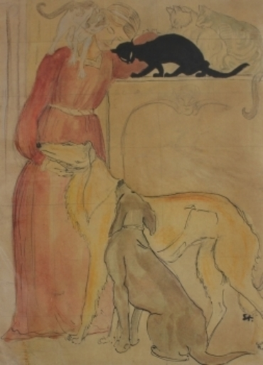 Théophile Alexandre STEINLEN - Drawing-Watercolor - Entwurf für Clinique Chéron