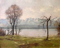Josef BURGER - Painting - Seeuferlandschaft
