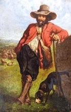 Gustave COURBET (Attrib.) - Peinture - Le Berger son troupeau et son chien