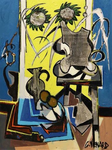 Claude VENARD - Pintura - Fleurs et vase