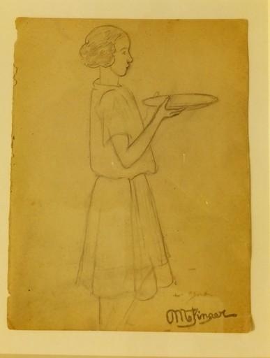 Jean METZINGER - Drawing-Watercolor - Femme au plateau