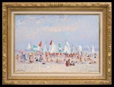 André HAMBOURG - Painting - L'été à Deauville