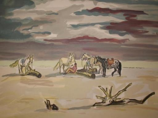 Yves BRAYER - Grabado - Le repos des cavaliers sur la plage,1974