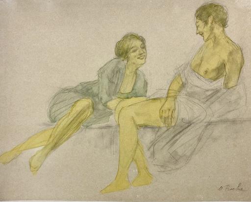Odilon ROCHE - Zeichnung Aquarell - Les amoureux