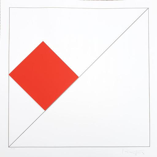 Gottfried HONEGGER - Estampe-Multiple - Composition 1 carré 3D (rouge)
