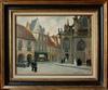 Lucien BARUÉ - Gemälde - Moulins: les communiants devant la cathédrale