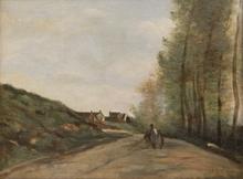 让巴蒂斯特卡米尔柯罗 - 绘画 - Gouvieux, près de Chantilly, la route