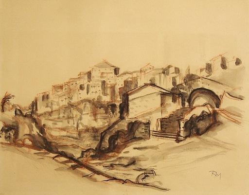 Rudolf MUCHOW - Disegno Acquarello - Südliche Hügellandschaft mit Häusern