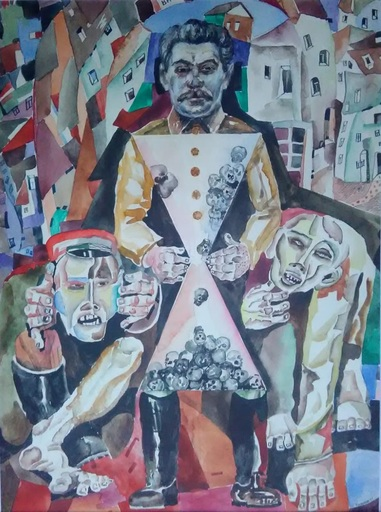 Stas BLINOV - Drawing-Watercolor - Stalin and time