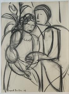Marcel BURTIN - Drawing-Watercolor - LE COUPLE