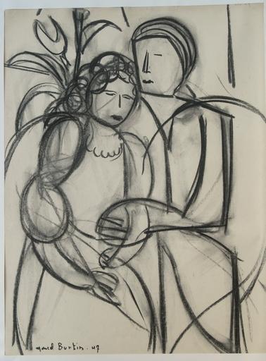 Marcel BURTIN - Dibujo Acuarela - LE COUPLE