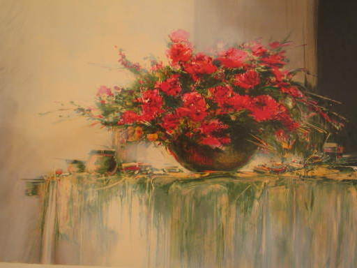 François D'IZARNY - Estampe-Multiple - Le vase de fleurs rouges,1998.