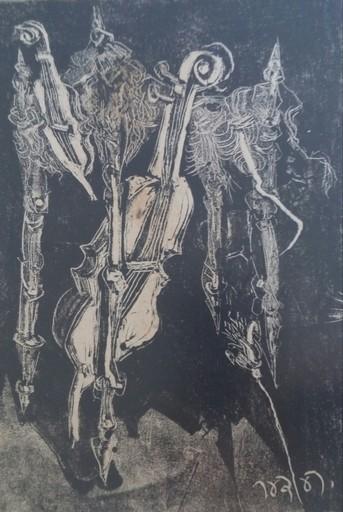 Bernhard REDER - Druckgrafik-Multiple - Cello and Music Instruments