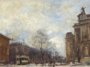 Rudolf SCHRAMM-ZITTAU - Painting - Belebter Platz in Augsburg mit Stadttheater