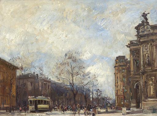 Rudolf SCHRAMM-ZITTAU - Peinture - Belebter Platz in Augsburg mit Stadttheater