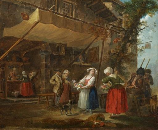 Jean-Baptiste I CHARPENTIER - Painting -  Marchants ambulants devant une taverne