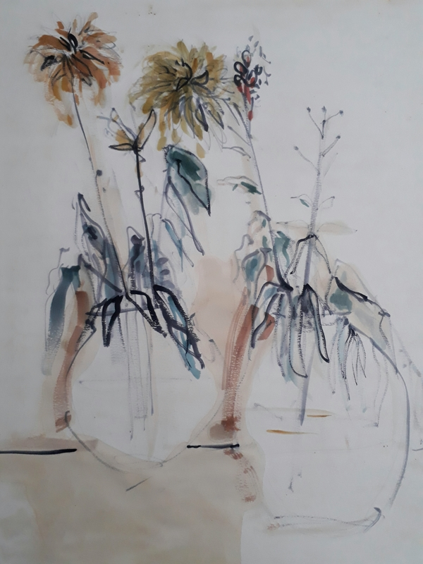 Anna TICHO - Drawing-Watercolor - Flowers in Vases