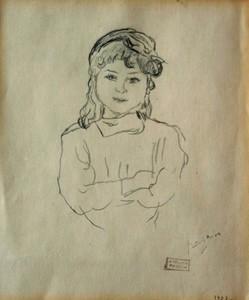 Jules PASCIN - Dibujo Acuarela - L'écolière