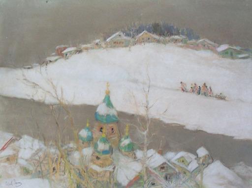 Abel Pfeffermann PANN - Zeichnung Aquarell -  Russian Snowy Landscape