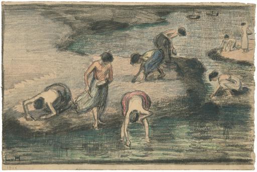 Ludwig VON HOFMANN - Disegno Acquarello - Strand mit Muschelsammlerinnen.