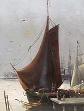 L. REBOURGEON - Painting - Segelboote in der Lagune von Venedig