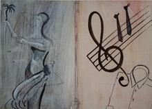 西格马尔•波尔克 - 版画 - Ohne Titel (Notenschlüssel)