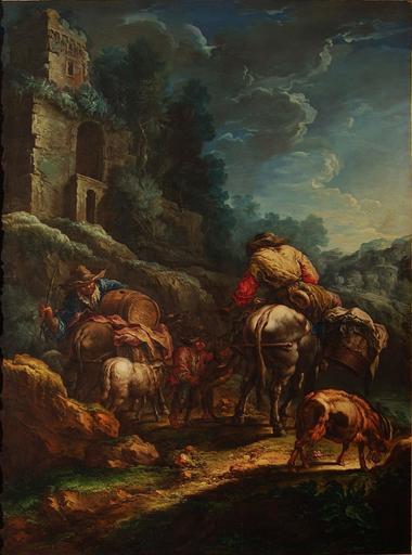 Giuseppe Antonio PIANCA - Gemälde - Paesaggio con viandanti ed animali