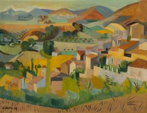 André LHOTE - Gemälde - Paysage de Mirmande