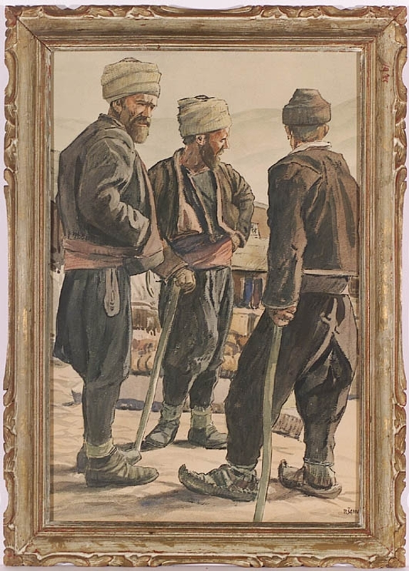 "Petrus SAIN - Zeichnung Aquarell - ""Bosnians"" by Petrus Sinan Sain, 1910's"
