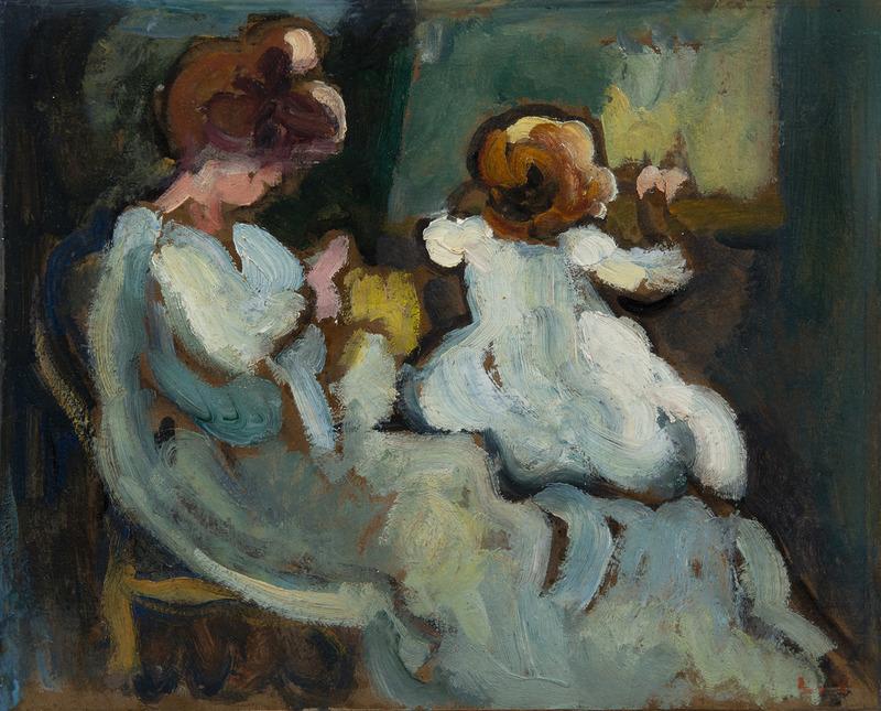 Louis VALTAT - Peinture - Suzanne et Jean à la fenêtre