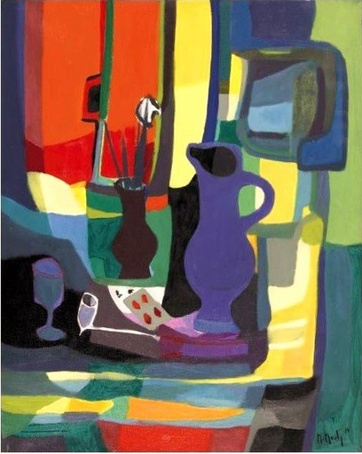 Marcel MOULY - Pittura - Nature Morte à la Pipe en Terre