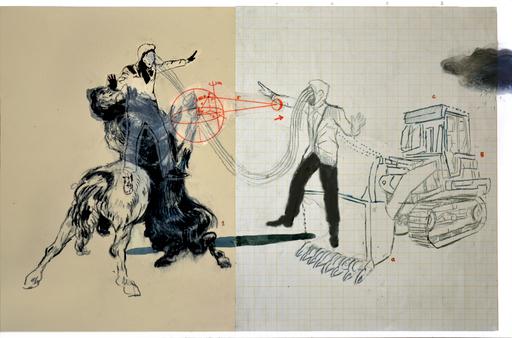 Mohamed LEKLETI - Dibujo Acuarela - Construire le mythe