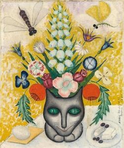 Marie VASSILIEFF - Painting - Bouquet de fleurs avec un chat