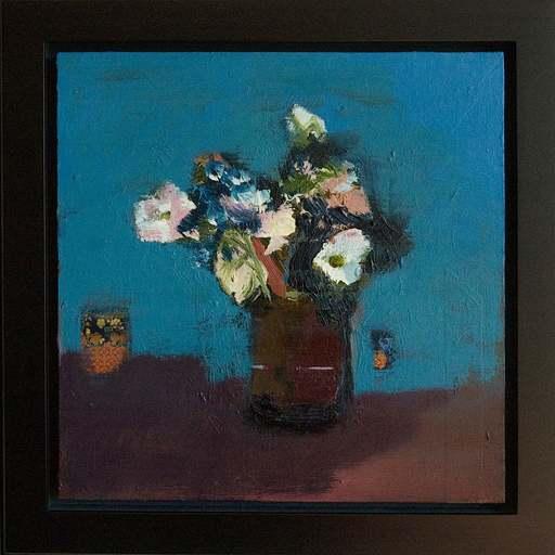 Jennifer HORNYAK - Pintura - Brown Vase with White Flowers