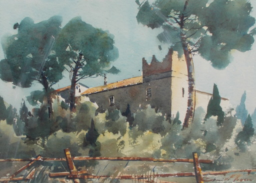 Camille FERRER - Drawing-Watercolor - Le chateau