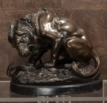 Antoine Louis BARYE - Sculpture-Volume - Lion au serpent