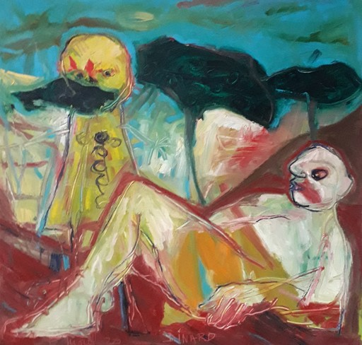Bernard MOREL - Pintura - PEINTRE ET MODELE...Masquée...