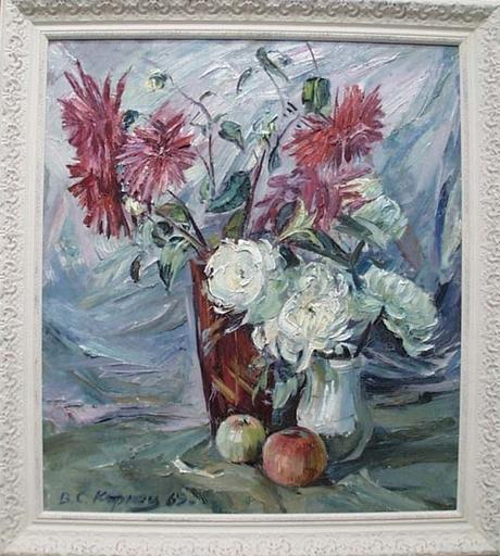 "Vassili KARKOTS - Painting - ""Flower Still Life"", Oil Painting by Vasili Karkots, 1969"