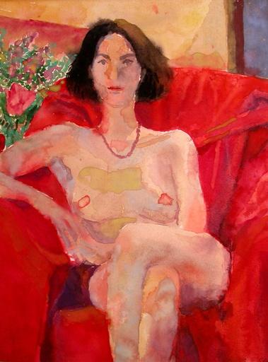 Erhard STÖBE - Disegno Acquarello - Akt auf rotem Stuhl
