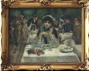 Carlo WOSTRY - Painting - Elégante au restaurant