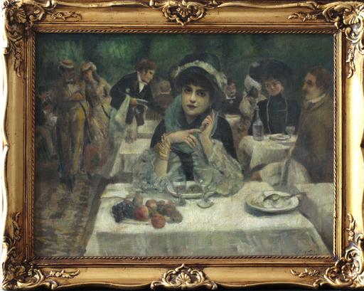 Carlo WOSTRY - Peinture - Elégante au restaurant